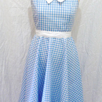 Pin Up Dress Rockabilly Clothing 50s Swing Halter Red Blue Pink Gingham Plus Size Housewife Sundress
