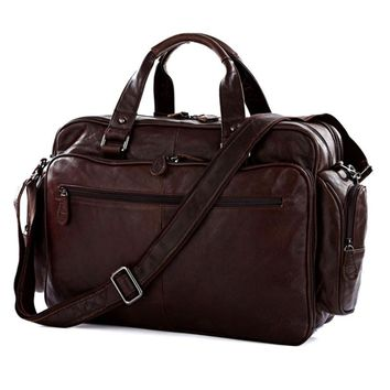 Fashion Luggage bag Genuine Leather Men Travel Bag Leather Men Duffle Bag Shoulder Big Overnight Bags weekend Tote Handbag brown