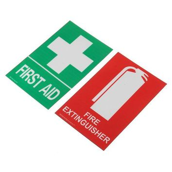 ONETOW 100x66mm first aid and fire extinguisher PVC Sticker Sign Decal Set OHS WH for outdoor Safety and Survival emergency urgent