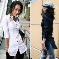 Women's Ladies Polo Neck Casual Tops Blouse Long Shirt Solid White Black Size S