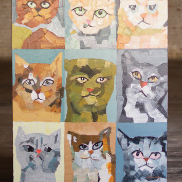 Oil Painting - Crazy Cats