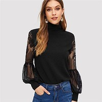 High Neck Lace Lantern Sleeve Top Fashion Mesh Blouse Women's Long Sleeve Pattern Printing Ladies Tops