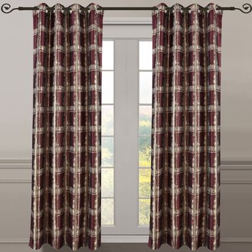 Burgundy Pair (Set of 2 ) Top Grommet Window Curtain Panels Abstract Jacquard Studio