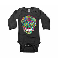 Trendy Toddler Clothes Long Sleeve Black Tattoo Rockabilly baby winter bodysuit. 0 3 6 12 18 months Day of the Dead Trendy Boy Girl clothes