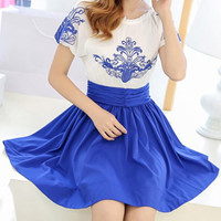 White and Blue Color Block Printed Chiffon Dress
