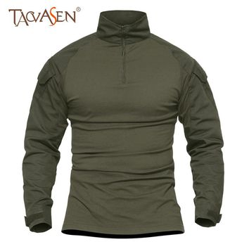 TACVASEN Tactical T-shirt Men Military Camouflage T-Shirt Long Sleeve T-shirts For Fishing Tees Hiking Camping Man Clothes 5XL