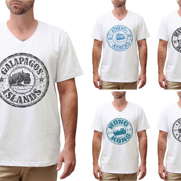 Stamps of countries-2 Printed Cotton V-neck Men T-shirt MTS_02