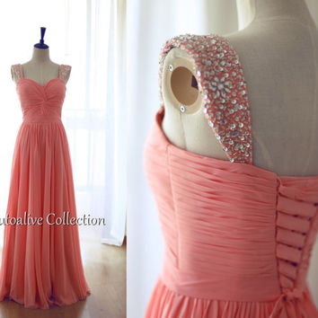 Coral Chiffon Beaded Cap Sleeves Bridesmaid Dress Long Chiffon Sweetheart Corset Dress