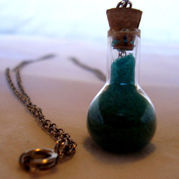 Glass vial Necklace with blue sand