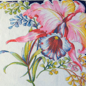 Vintage Handkerchief Hankie Vivid Iris Flowers and Dark Edge Gorgeous Color!