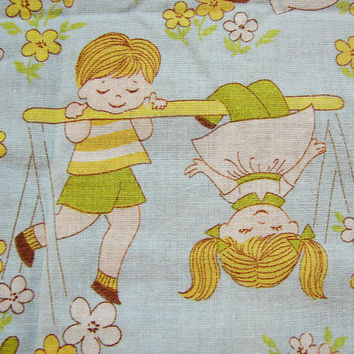 Vintage 1970s Fabric Kids Juvenile Novelty Fabric pair Curtain Panels children Playground See Saw Slide