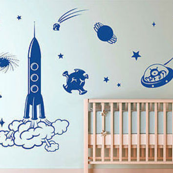 Space Room Children decal Idea Kids Decor Wall Decal Art Vinyl Sticker tr533