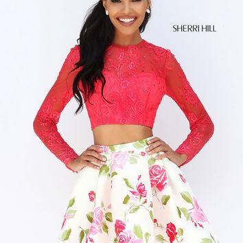 Sherri Hill 50563 Lace Top & Floral Skirt | RissyRoos.com