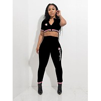 Champion Fashion Women Sexy Print Short Sleeve Zipper Crop Top Trousers Set Two-Piece Sportswear Black
