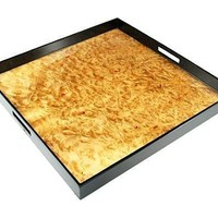 Large Square Lacquer Serving Tray | 22 x 22 | Walnut