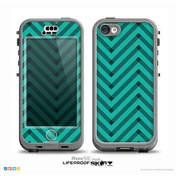 The Teal & Black Sketch Chevron Skin for the iPhone 5c nüüd LifeProof Case