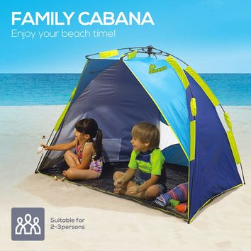 Beach Tent Shade Easy Setup, 2-3 Person Portable Sun Shelter Pop Up with UV Protection UPF 50+ for Kids, Anti UV for Fishing Hiking Camping Holidays, Water Resistant with Carrying Bag, Blue