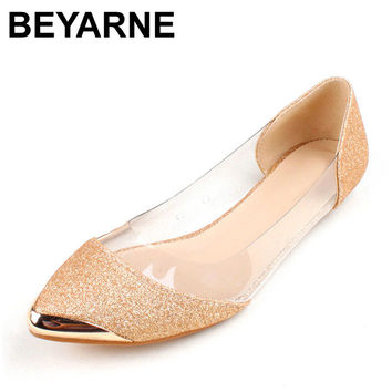 Women's Flats Clear Sided Metallic Pointed Toe Shoes