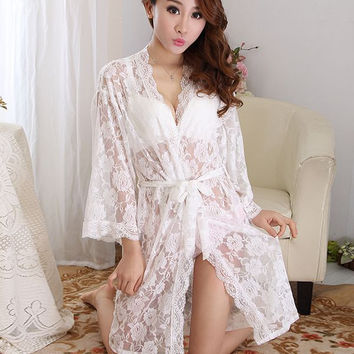 Womens Sexy See Through Lace Sleepwear Robes Lingerie Pajamas Nightgown Bathrobe