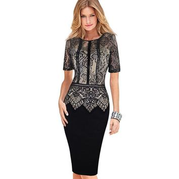Womens Dress Elegant Vestidos Lace Peplum See Through Sleeve Casual Party Special Occasion Sheath Fitted Bodycon Dress 386