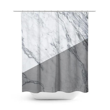 Split Marble Shower Curtain - Bathroom Decor - Mable Bathroom Decor