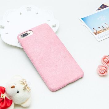 Simple DIY Case For iphone 7 6 6s Plus Funda Fashion Candy Color Fuzzy Flannel Soft Silicone Back Cover Ultra thin Phone Cases