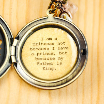 I am a princess not because i have a prince, but because my Father is King - Women's Locket - Quote Locoket - Christain Jewelry - Faith