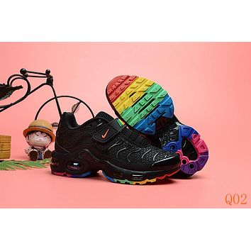 HCXX 19Aug 541 Nike Air Max Plus TN Kid Velcro Sports Fashion Air Cushion Damping Running Shoes Black Color
