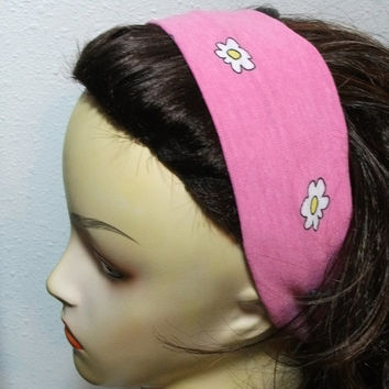 Wide Fabric Headband Wrap Around Pink with White and Yellow Flowers Stretch Knit