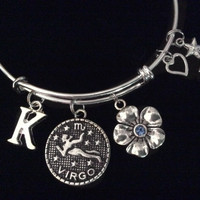 Virgo Zodiac Morning Glory Flower Blue Sapphire Birthstone Silver Expandable Bracelet Birthday Gift Bangle