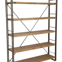 Brooklyn Large Open Shelf Solid Acacia Wood Powder Coated Steel