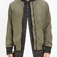 Zipped-Sleeve Bomber Jacket