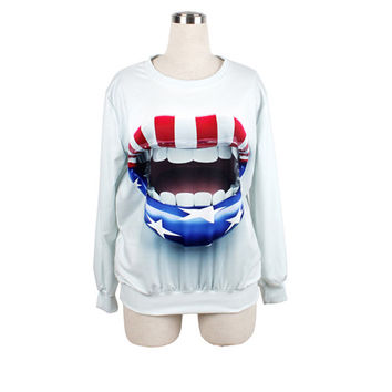 mouth pullover sweatshirt no hood