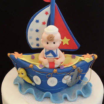 Nautical Baby Shower Decoration, Baby on Boat Nautical Cake Topper, Nautical First Birthday, Nautical Baby Shower, Nautical, Nautical Favor, Nautical Party Decoration, Baby Sailor Favor