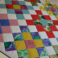 Quilted Table Topper, Modern Granny Squares Mini Quilt, Modern Quilted Wall Hanging, Quiltsy Handmade