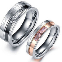 His and Her Pink Stone love Band 2 tone sterling silver Band For Wedding