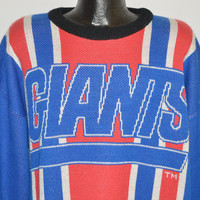 80s New York Giants Striped Sweater Extra Large