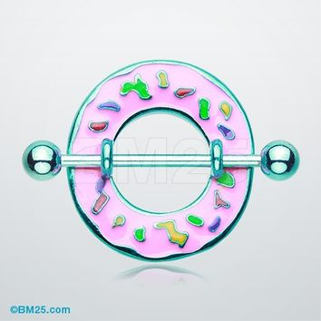Pink Frosted Sprinkled Donut Nipple Shield Ring