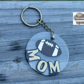 2 in Acrylic Circle Key Chain Football Mom