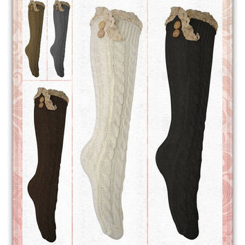 Women's  Cute Victorian Vintage Twist Cable Knit Boot Socks with Lace & Buttons, Leg Warmers, Boot Socks, Gift
