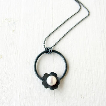 ... Open Circle Flower Necklace White Pearl necklace silver flower necklace  handmade under 50 cheap sale 46e4a ... 500722e29