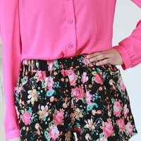 New spring floral flower print black mini shorts from zamong-boutique