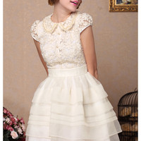 lovely elegant lace Organza party dress