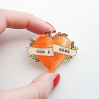 tattoo heart badge, tea and cake, heart pin, love heart
