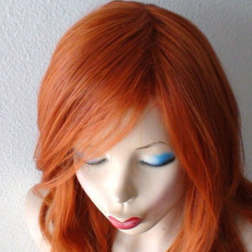 Ginger red wig. Beach wavy soft layered hairstyle long side bangs wig
