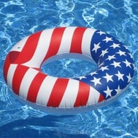 Swimline 36″ Inflatable Patriotic American Flag Swimming Pool Lake Tube Float