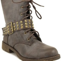 Harley-13 Brown Lace up Studded Spike Buckle Combat Boot