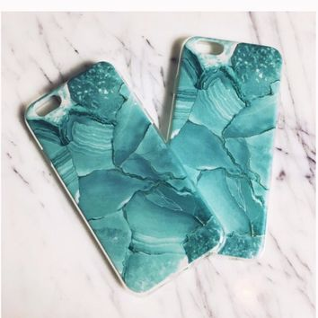Teal Stone Print Phone Case
