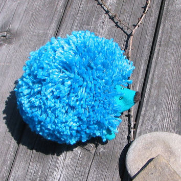 Turquoise hedgehog Kids room decor Sweet soft Funny animal Perfect gift Spring farm Fiber Yarn For country lovers Whimsical Wild Animal