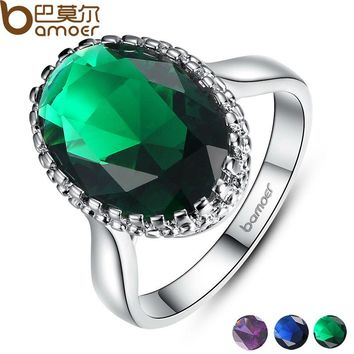BAMOER Silver Color Elegant Green Big Stone Ring with Paved Created Gemstone Jewelry for Women Party and Wedding YIR182